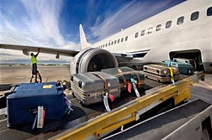 Luggage coming off a plane