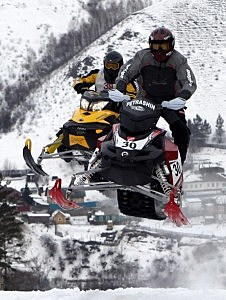 Participants compete in Snow Race 2011