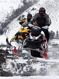 Participants compete in Snow Race 2011