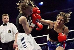 Women boxing pain